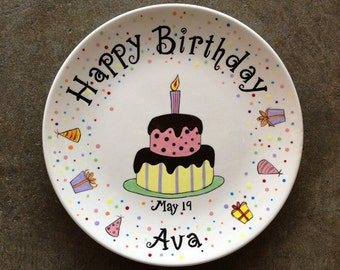 "10"" Personalized Hand Painted Ceramic Birthday Plate or Special Occasion Plate-10"" coupe plate"