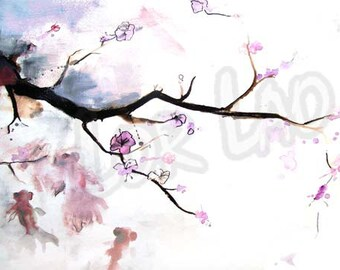 Japanese, Koi, Watercolor, Painting, art, Poster, print