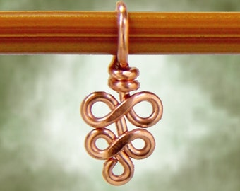 Knitting Stitch Marker, Copper or Brass Elegant Swirls - Sized and Made to Order - US3 to US11