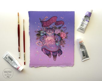 Rose City Spellcat - Original Painting by Nicole Gustafsson