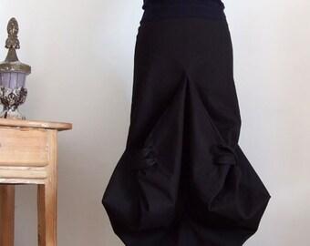 SKIRT ARCHITECTURAL CONSTRUCTION, deep black avant garde skirt, unique origami skirt, unique clothing, Couvert skirt, midi skirt