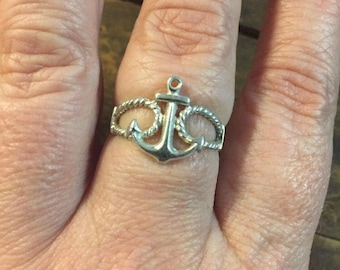 Anchor Ring Sterling Silver Nautical Jewelry Size 8 Vintage