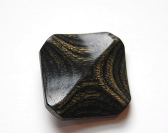 Vintage Black with Golden Brown Grain Pinched Wood Button btn026