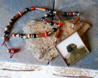 Sphinx Tribal Necklace,  Beaded, Antiqued brass pendant with original photo print,