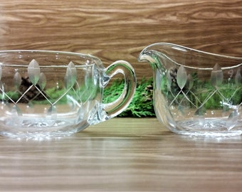 ETCHED CREAM and SUGAR Vintage Leaf Pattern Set Circa 1950's - 1960's Dining and Serving Ware
