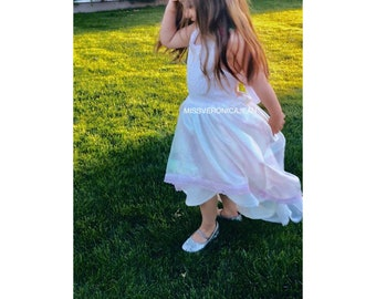 White iridescent lace rainbow bohemian layered girls dress boho flower girl rustic junior bridesmaid toddler maxi hi low