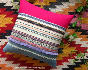 Pink Throw Pillow BEIGE STRIPE Mexican Aztec Blue Rustic Cushion Cover