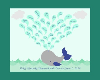 Alternative Baby Shower Guestbook, Baby Shower Guest Signature Print, Whale with Water Spout, Baby Shower Gift, Baby Shower Keepsake Print