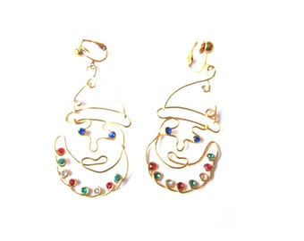 Earrings Santa Claus Abstract Rhinestone Wire Gold Plate Clip On Large