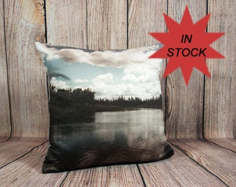"Lake House Decor, Coastal Decor Ideas, Housewarming Gift Throw Pillow Cover, Nautical Pillow, Beach Theme Pillow Case, Camper Decor 14x14"""