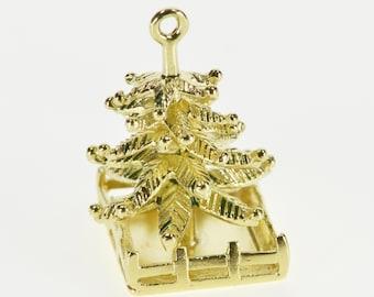 14K 3D Stylized Holiday Christmas Pine Tree Charm/Pendant Yellow Gold