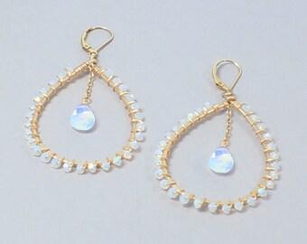 Large White Hoop Earrings, Teardrop Hoop, Bridal Hoop Earrings, Beaded Hoop Earrings, White Opal, Opalite Earrings