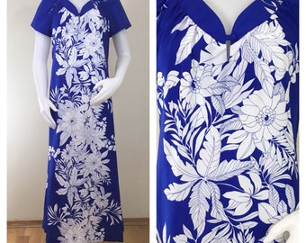 80s Sand Pebble of Hawaii Purple White Hawaiian Maxi Dress Muu Muu, Size Medium to Large