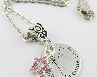 Wishes do Come True Message Star Charm Necklace 45cm Silver Tone Chain (C2546/C721/NFS034)