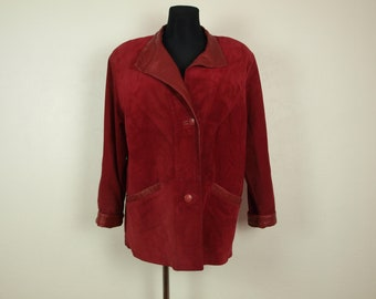 Red Suede leather jacket Women's Size Eur 40 Us 12 leather coat, 80s red suede leather coat, Steampunk big pockets FRIIATALA Made in Finland