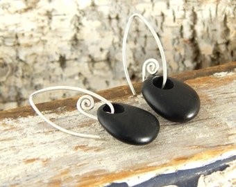 Gifts for nature lover! Beach stone earrings, black stone earrings, handmade sterling silver fiddlehead earwires, ready to ship.