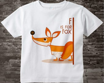 Kids Fox Shirt, F is for Fox Shirt or Onesie, Outfit for kids great alphabet learning gift 03242016d
