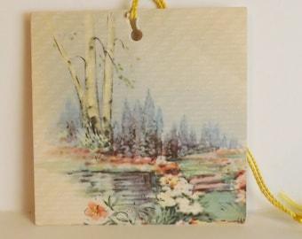 Vintage Gibson bridge tally floral flower garden scene illustration scorecard ephemera