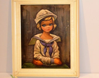 Vintage Eden Sailor Girl Print with Fab French Country Frame