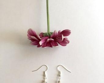 Raw quartz crystal dangle earrings, quartz earrings, crystal earrings, healing jewlery, crystal jewelry