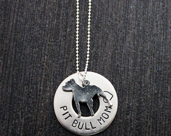 Hand Stamped Pit Bull Support Saying Pittie Charm Necklace 10% Proceeds to Pit Bull Organization