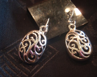 Sterling silver, hand crafted dangle earrings from Bali.