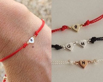 Initial heart bracelet  - silk cord bracelet - customized bracelet - personalized jewelry -stamped initials - silver - gold - rose gold