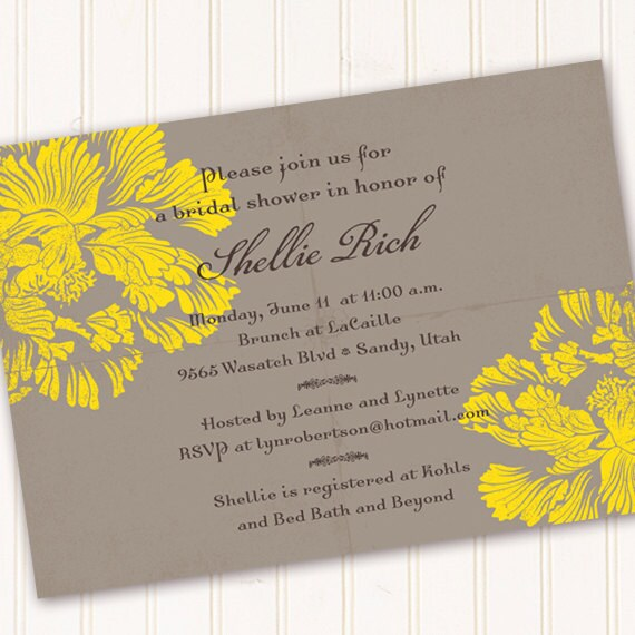 bridal shower invitations, lemon bridal shower invitations, slate bridal shower invitations, wedding shower invitations, grad party, IN155