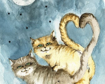 cats, feline, cute cats, kitty,  kitties in love, original pen and watercolor painting