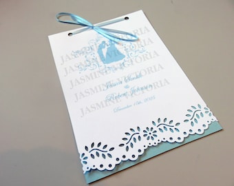 "Cinderella wedding invitations booklet 5"" by 7"""