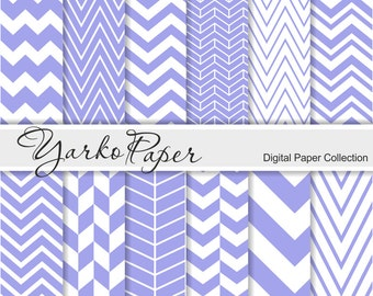 Purple Chevron Digital Paper Pack, Chevron Scrapbook Paper, Digital Background, 12 Sheets, Personal And Commercial Use - Instant Download