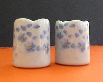2 FunnyDesign Mini. Candle Holders~Doll House Accesories~Imported Porcelain~West Gemany~Floral Print Vase~Tiny Vase~Taper Candle Holder~Vase
