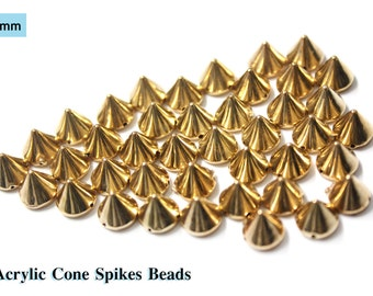 Gold Bullet Cone Spikes,  Acrylic Bead Punk Rivets, Bracelet Spacer Beads 7 mm