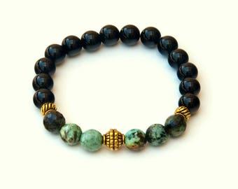 Black Onyx bracelet, turquoise bracelet, gemstone bracelet, womens bracelets, beaded bracelets, black beaded bracelet, handmade bracelets