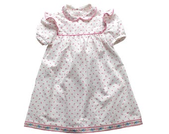 FRENCH VINTAGE 70's / kids / summer dress / floral fabric + peter pan collar / new old stock / size 18 months