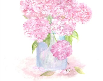 Original Watercolor Hydrangea Series 1, Original Watercolor Print, Watercolor Pink Hydrangea Painting,Pink Hydrangea