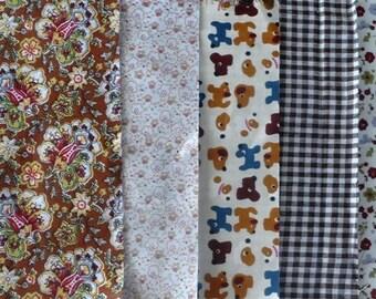 set of 5 cut of cotton fabric 20 x 25 cm