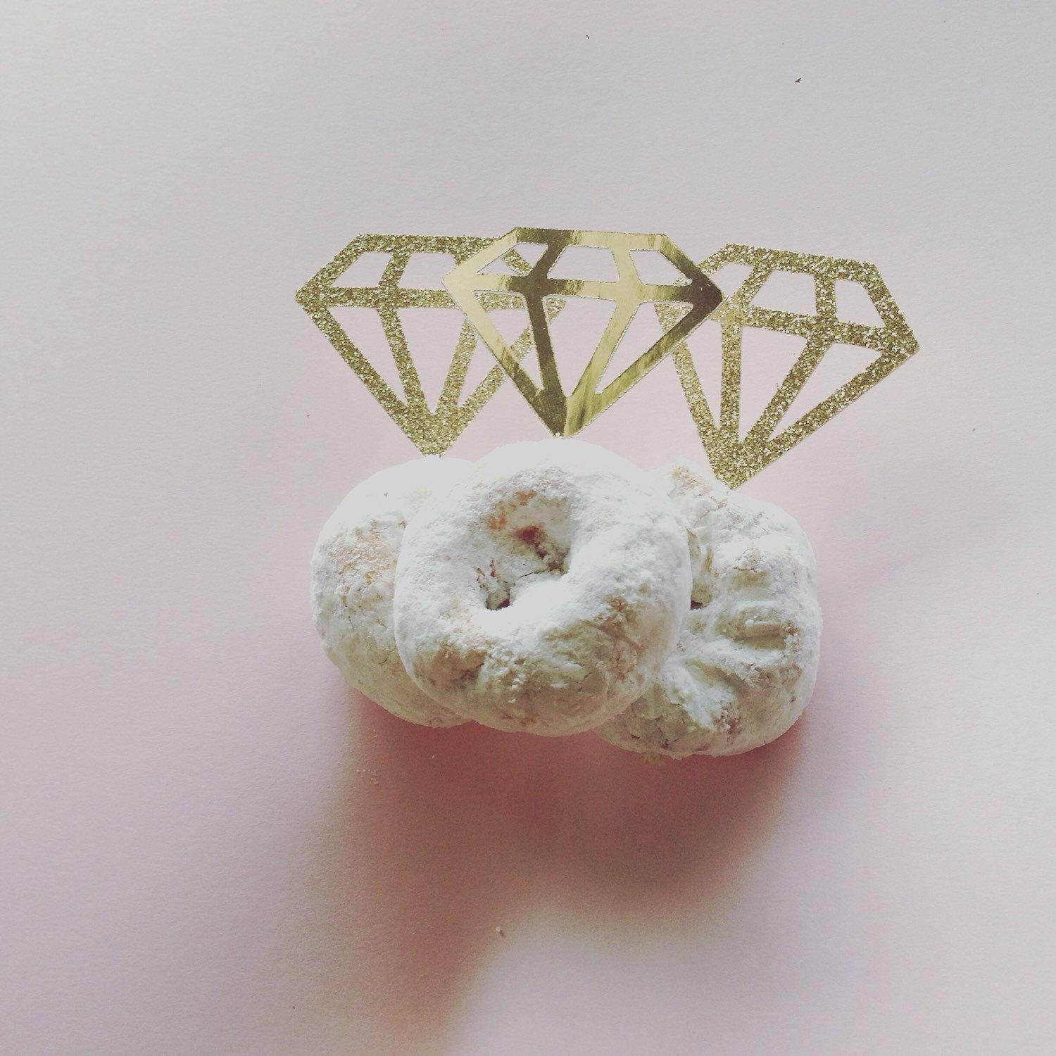 Diamond ring donut topper silver or gold glitter metallic cupcake