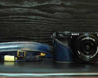 SONY A6000 leather full case , half case ,strap ,blue black COMBO