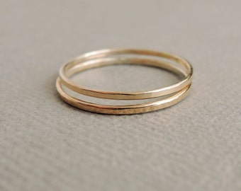 2 Skinny Gold Rings two thin stackable rings thumb ring or above the knuckle ring - spring jewellery