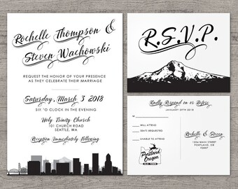 Printable Portland Invitation Wedding Party Special Event Flat Other Cities available City Skyline Oregon Hometown Travel Mount Hood