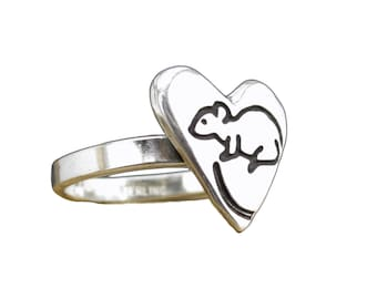 Rat Ring - Sterling Silver Mouse Ring or Rat Ring in Heart Shape - Custom Made to Your Size