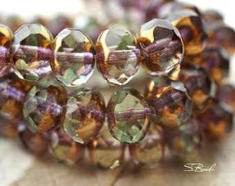 Golden Olivine, Rondelle Beads, Czech Beads, Beads, N1693