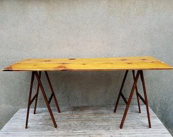 Vintage Wallpaper Portable Folding Table Legs Two Board Hinged Pine Top Artist Desk