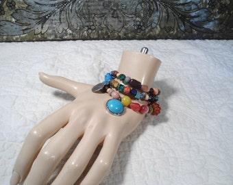 3pc Boho Wrap Bracelet, Beaded Bracelet Stack Bohemian Bracelets Set Mixed Stone Mixed Gemstone Beads Stacked Bracelets,