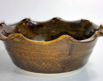 Small Deep Dish Pie Pan -   Fluted Pie Pan - Scalloped Pie Plate - Baker - Wheel Thrown Pottery - Amber with Golden Flecks