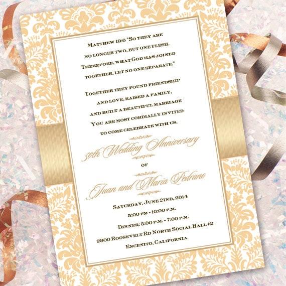 50th wedding anniversary invitations, champagne wedding invitations, golden anniversary party invitations, bridal shower invitations, IN323