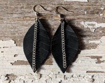 Leather Earrings~Leather Feather Earrings~Earrings~Gift For Her~Rustic Jewelry