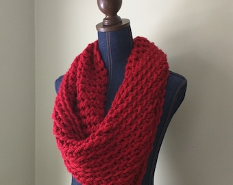 Red Infinity Scarf / Crochet Scarf / Red Knit Scarf / Poppy Red Cowl / Red Scarf / Made in USA / Oversized Scarf / DottieQ