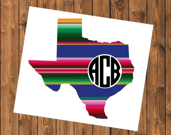 Free Shipping-Serape Texas Cactus Cacti Personalized Monogrammed Decal Sticker/ Laptop YETI RTIC Tumbler Cup Car Window Decal